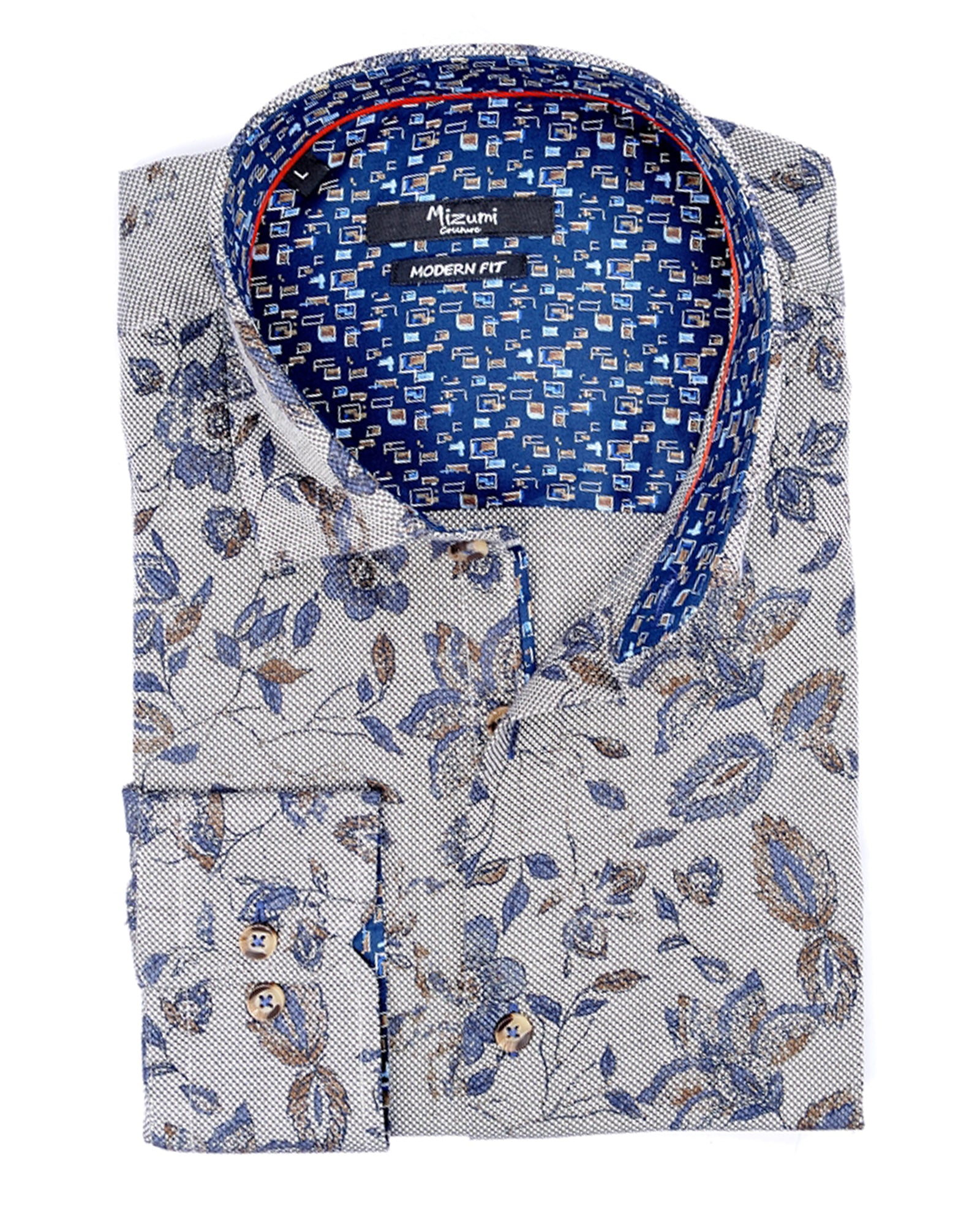 Indigo & Taupe Floral Sport Shirt - Rainwater's Men's Clothing and Tuxedo Rental