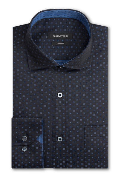 Bugatchi Navy Blue Neat Print Classic Fit - Rainwater's Men's Clothing and Tuxedo Rental