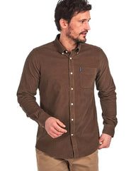 Barbour Cord 2 Cordoroy Button Down Collar Tailored Button Up Shirt In Brown - Rainwater's Men's Clothing and Tuxedo Rental