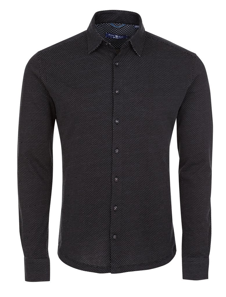 Stone Rose Black Birdseye Knit Long Sleeve Shirt - Rainwater's Men's Clothing and Tuxedo Rental