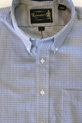 Black & Blue Mini Check Plaid Wrinkle Free Button Down Sport Shirt by Rainwater's - Rainwater's Men's Clothing and Tuxedo Rental