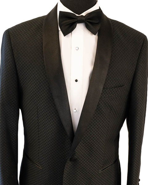 Black Textured Shawl Tuxedo Rental - Rainwater's