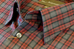 Black with Grey and Red Plaid Cotton Hidden Button-down by Dean Rainwater - Rainwater's Men's Clothing and Tuxedo Rental