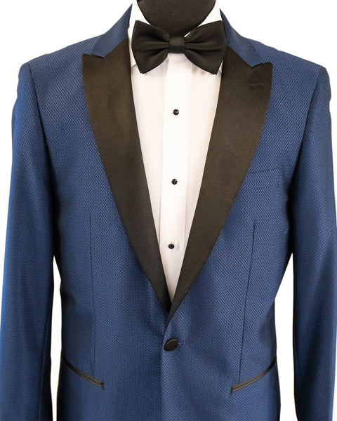 Blue Chevron Texture With Black Peak Lapel Dinner Jacket Tuxedo Rental - Rainwater's