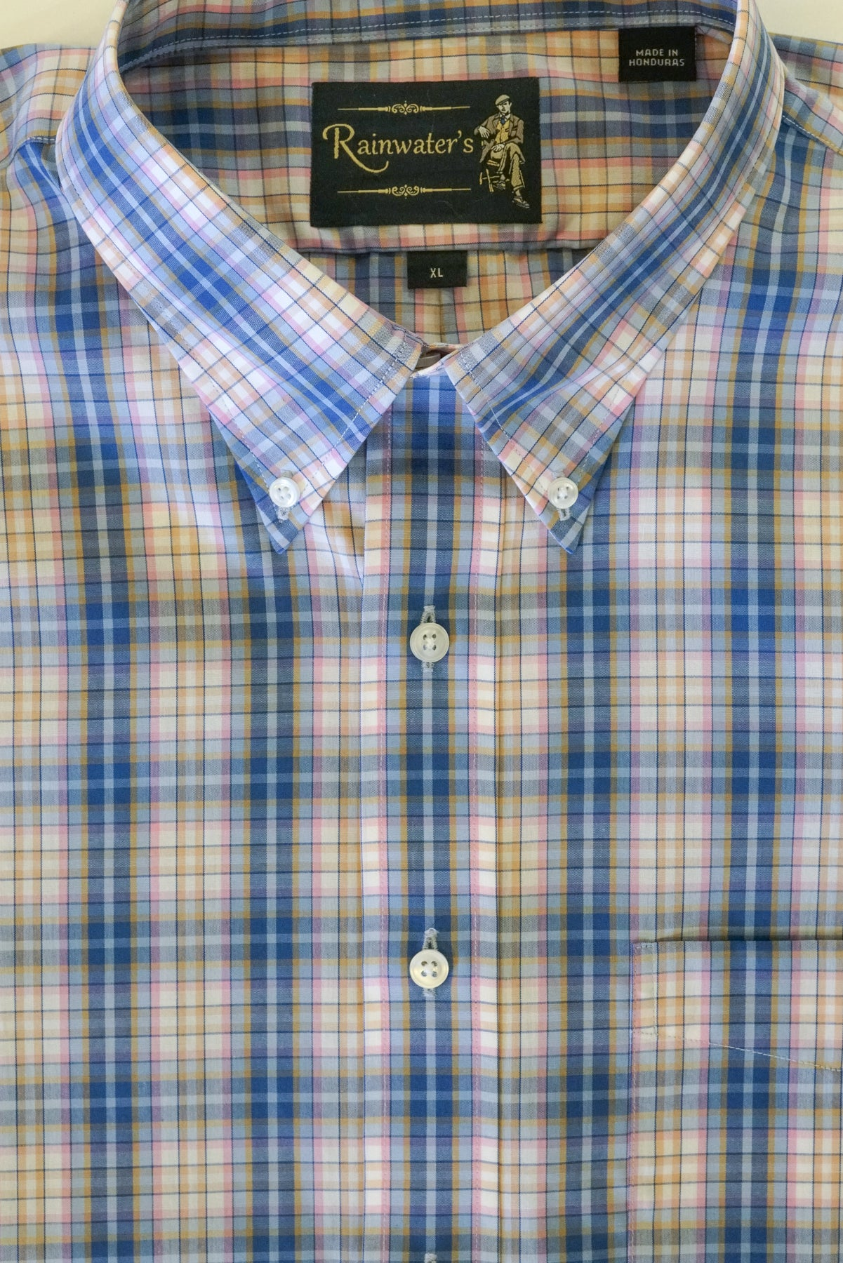 Blue & Pink Plaid with Man in Chair Logo Button Down Wrinkle Free Sport Shirt by Rainwater's - Rainwater's
