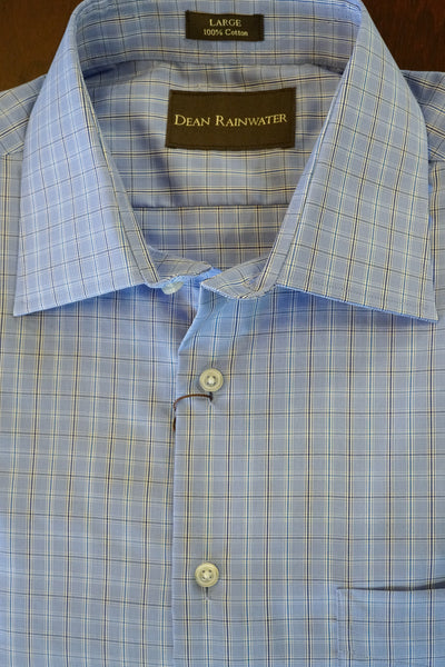 Blue Windowpane Cotton Spread Collar by Dean Rainwater - Rainwater's Men's Clothing and Tuxedo Rental