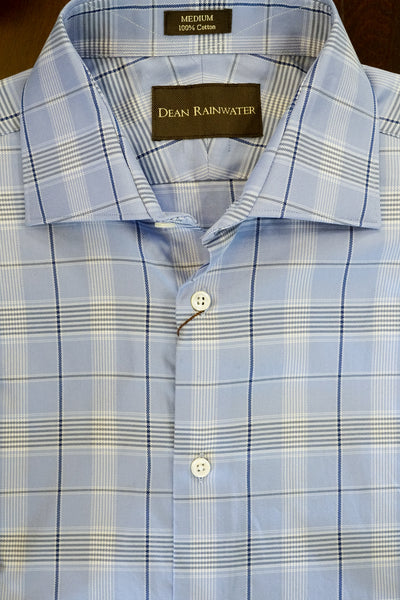 Blue and Navy Plaid Cotton Spread Collar by Dean Rainwater - Rainwater's Men's Clothing and Tuxedo Rental