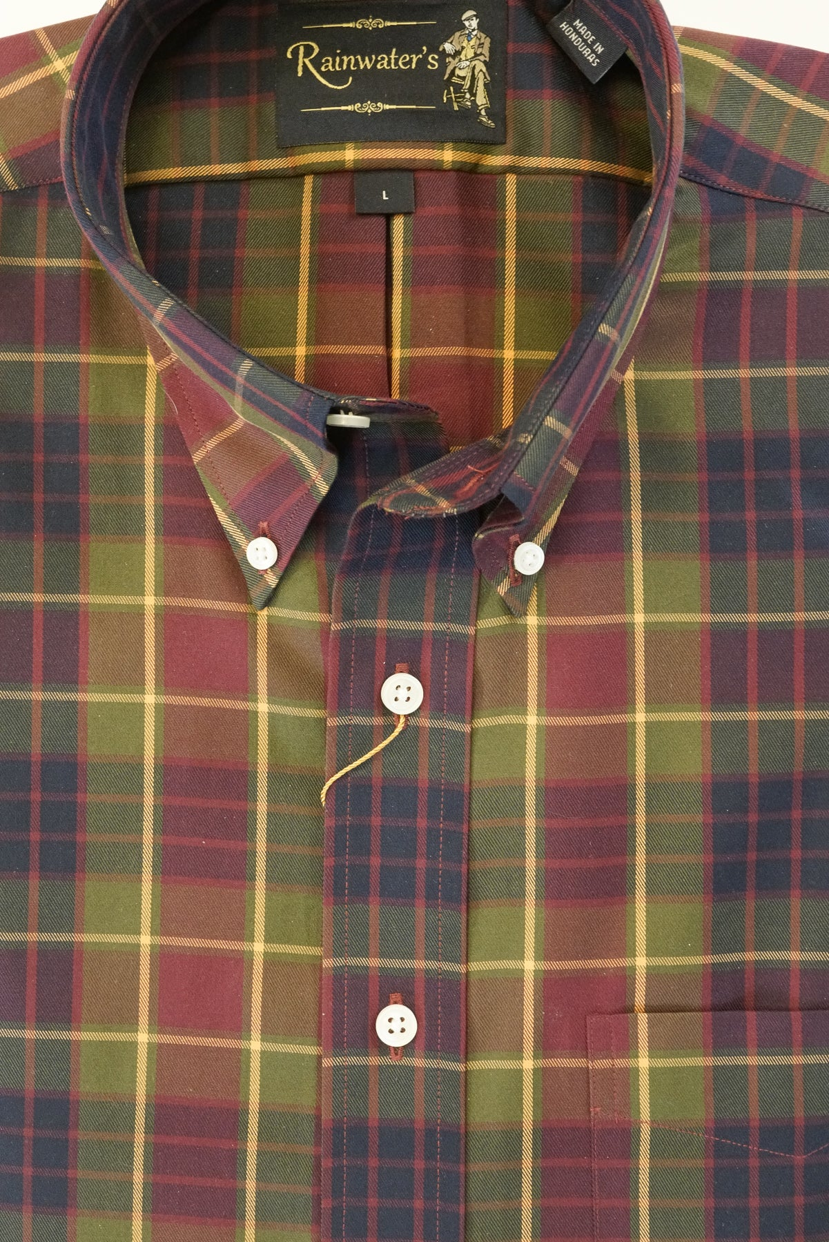 Burgundy Navy & Gold Plaid Wrinkle Free Button Down Sport Shirt by Rainwater's - Rainwater's