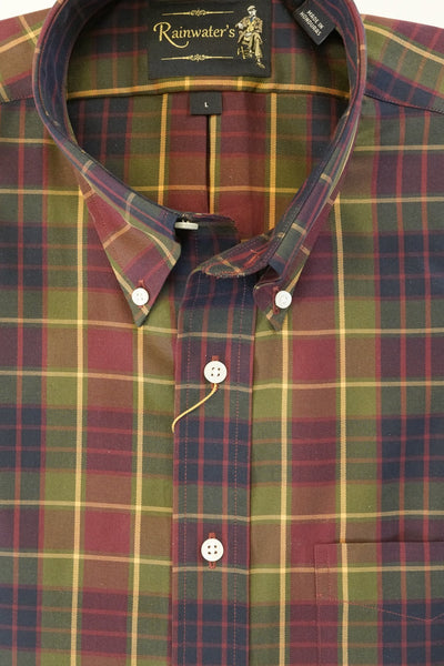 Burgundy Navy & Gold Plaid Wrinkle Free Button Down Sport Shirt by Rainwater's - Rainwater's Men's Clothing and Tuxedo Rental