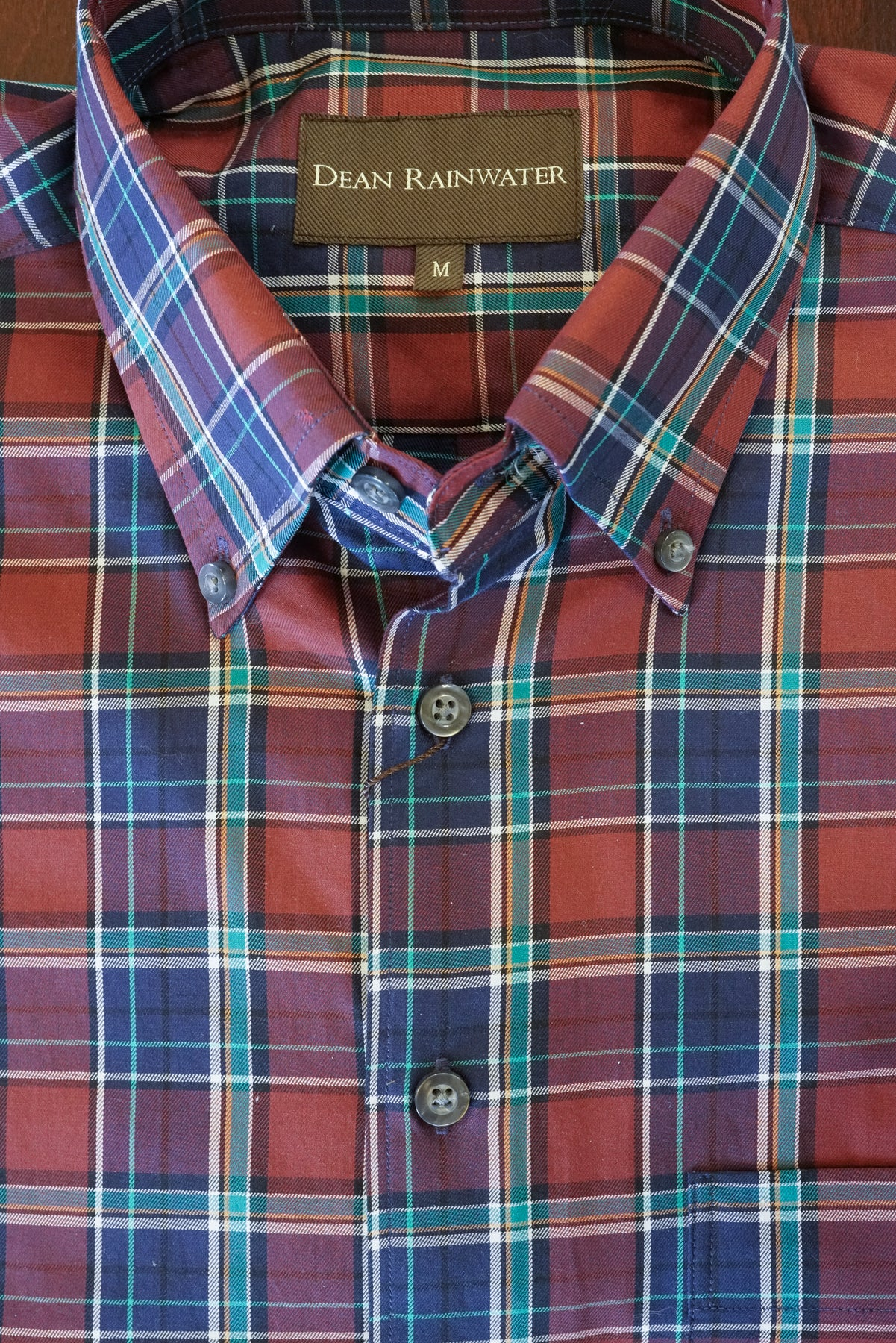 Burgundy, Navy with Teal Plaid Cotton Button-down by Dean Rainwater - Rainwater's