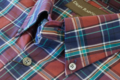 Burgundy, Navy with Teal Plaid Cotton Button-down by Dean Rainwater - Rainwater's Men's Clothing and Tuxedo Rental