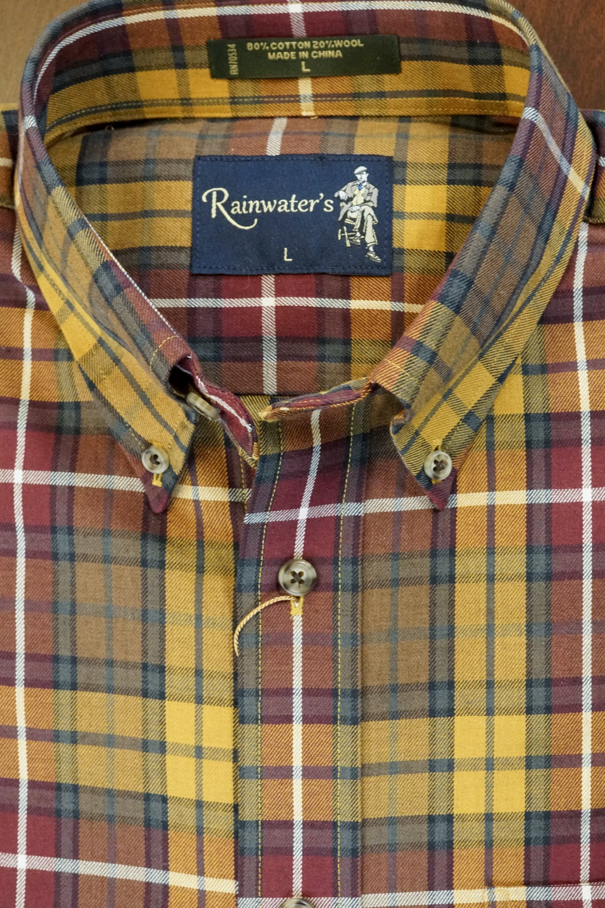 Burgundy and Gold Plaid Button Down in Cotton & Wool by Rainwater's - Rainwater's Men's Clothing and Tuxedo Rental