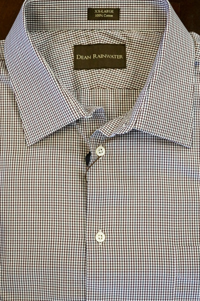Burgundy and Grey Mini Check Cotton Twill Spread Collar by Dean Rainwater - Rainwater's Men's Clothing and Tuxedo Rental