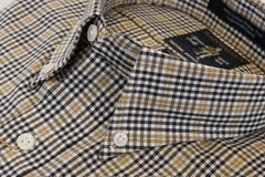 Camel & Black Plaid Check Button Down Wrinkle Free Sport Shirt by Rainwater's - Rainwater's Men's Clothing and Tuxedo Rental