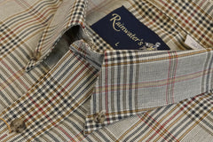 Camel Brown and Forest Plaid Button Down in Cotton & Wool by Rainwater's - Rainwater's Men's Clothing and Tuxedo Rental