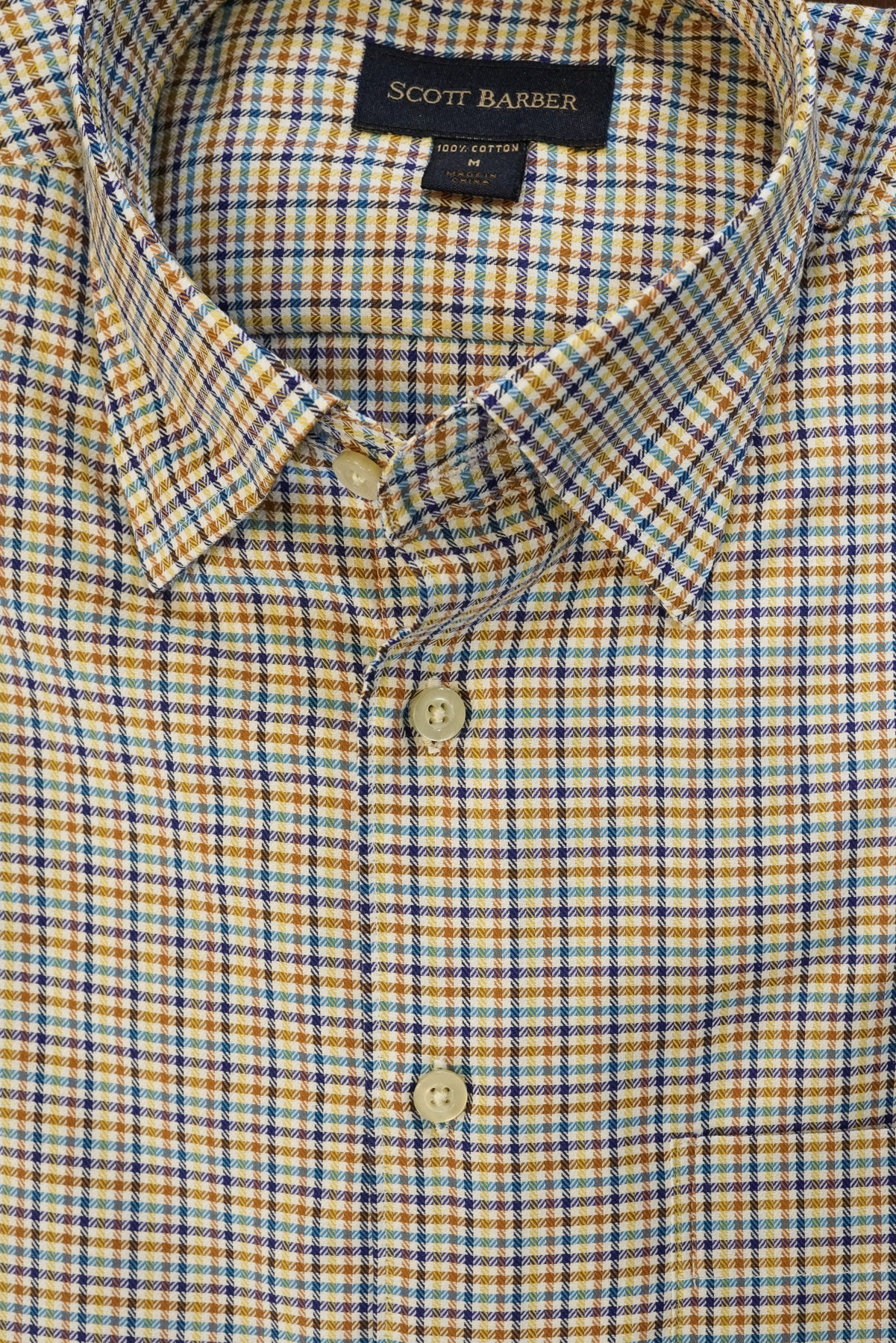 Camel and Blue Multi Check Hidden Button Down Sport Shirt by Scott Barber - Rainwater's