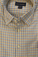 Camel and Blue Multi Check Hidden Button Down Sport Shirt by Scott Barber - Rainwater's Men's Clothing and Tuxedo Rental