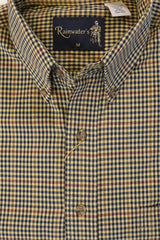 Camel and Navy Check Plaid Button Down in Cotton & Wool by Rainwater's - Rainwater's Men's Clothing and Tuxedo Rental