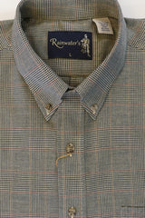 Camel and Navy Mini Glen Plaid Button Down in Cotton & Wool by Rainwater's - Rainwater's