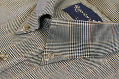 Camel and Navy Glen Plaid Button Down in Cotton & Wool by Rainwater's - Rainwater's Men's Clothing and Tuxedo Rental