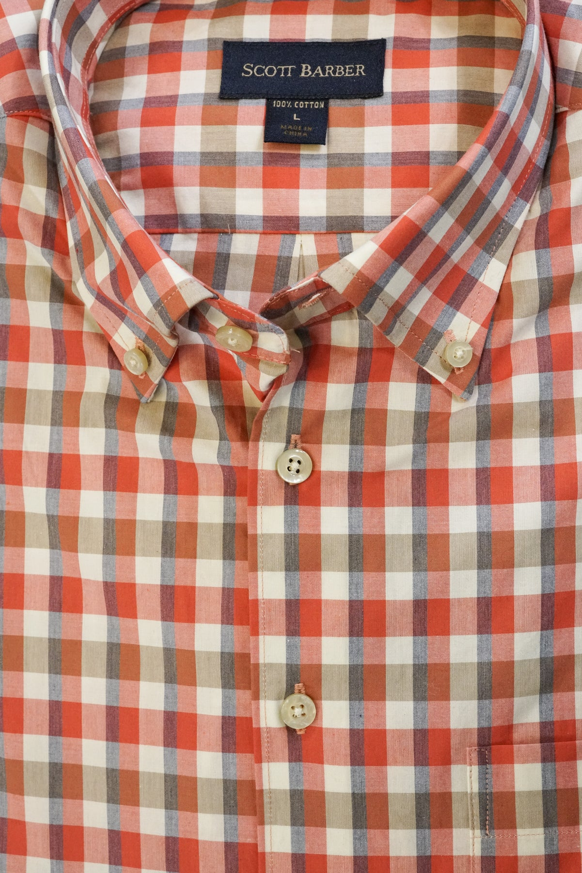 Clay Red, Olive and Ivory Plaid Button Down Collar by Scott Barber - Rainwater's Men's Clothing and Tuxedo Rental