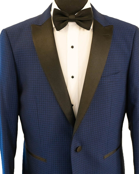 Cobalt Blue Diamond Texture With Black Peak Lapel Dinner Jacket Tuxedo Rental - Rainwater's Men's Clothing and Tuxedo Rental