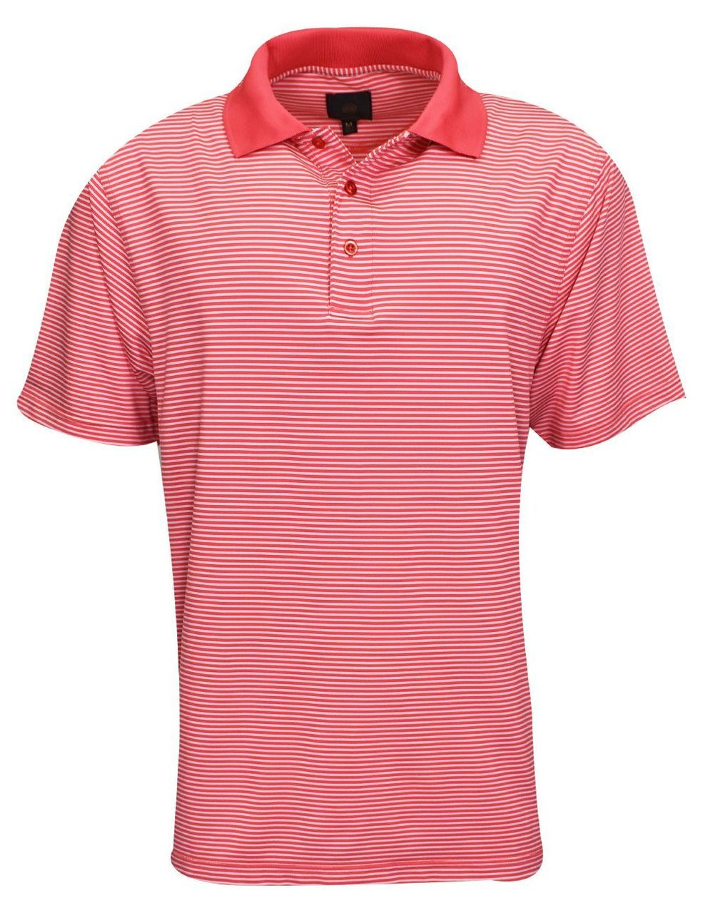 Rainwater's Fineline Stripe Polo in Coral - Rainwater's Men's Clothing and Tuxedo Rental