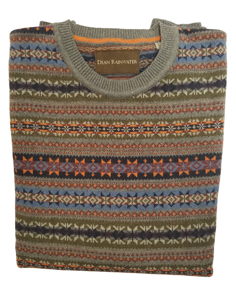 Crew Neck Sweater in Grey Fair Isles Pattern Cotton Blend