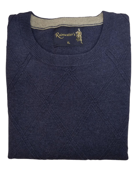 Crew Neck Sweater in  Heather Blue Diamond Weave
