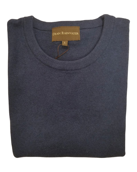Crew Neck Sweater in Navy Cotton & Cashmere