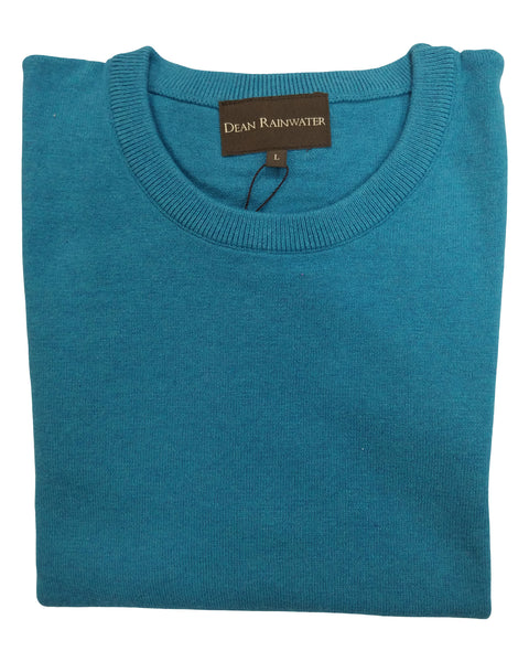 Crew Neck Sweater in Turquoise Cotton & Cashmere - Rainwater's