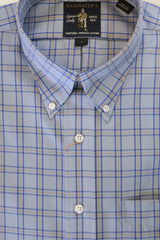 Blue With Navy & Gold Windowpane Button Down Wrinkle Free Sport Shirt by Rainwater's - Rainwater's
