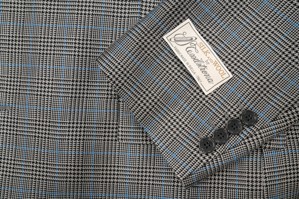 Tessilstrona Grey Glen Plaid Silk & Wool Sport Coat