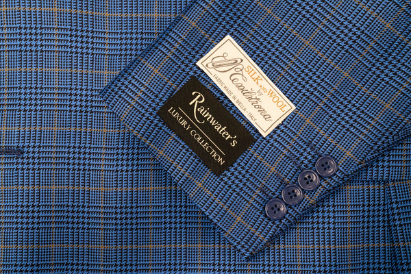 Tessilstrona French Blue Plaid Silk & Wool Sport Coat