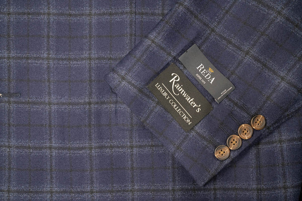 Reda Super 120's Blue Windowpane Sport Coat