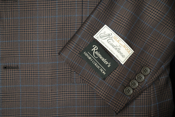 Tessilstrona Brown Plaid Silk & Wool Sport Coat