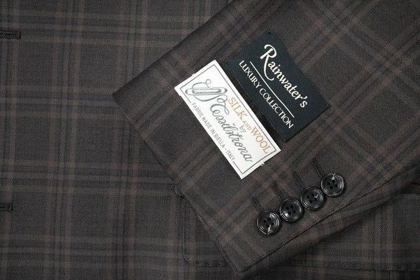 Tessilstrona Black & Brown Plaid Wool & Silk Sport Coat