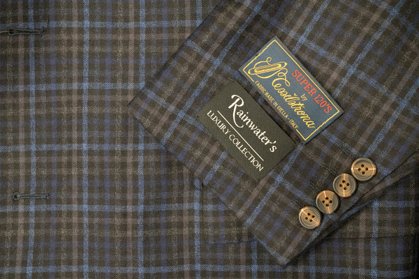 Tessilstrona Navy Check Plaid Super 120's Wool Sport Coat