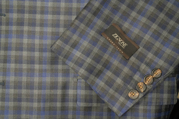 Zignone Blue Grey Plaid Super 120's Wool Sport Coat