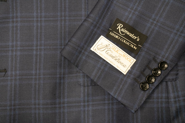 Tessilstrona Blue Plaid Wool & Silk Sport Coat