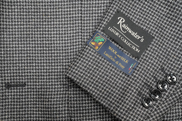 Lanificio di Pray Black & Grey Check Silk & Wool Sport Coat - Rainwater's Men's Clothing and Tuxedo Rental