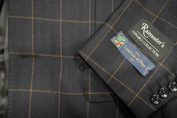 Lanificio di Pray Black & Brown Windowpane Sport Coat - Rainwater's Men's Clothing and Tuxedo Rental