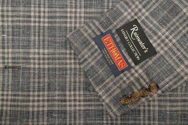 E. Thomas Grey Plaid Wool Silk & Linen Sport Coat - Rainwater's Men's Clothing and Tuxedo Rental