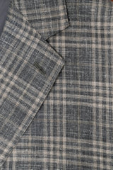 E. Thomas Grey Plaid Wool Silk & Linen Sport Coat - Rainwater's