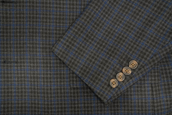 Reda's Charcoal & Blue Check Super 150's Wool Sport Coat