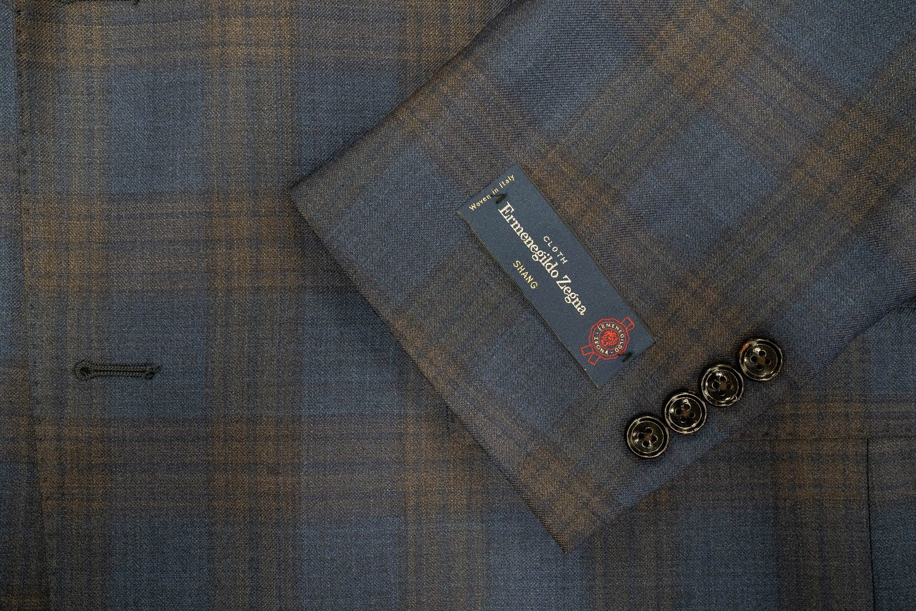 Ermenegildo Zegna Navy Brown Plaid Wool & Silk Sport Coat - Rainwater's Men's Clothing and Tuxedo Rental