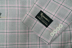 Tessilstrona Grey With Pink Plaid Silk & Wool Sport Coat