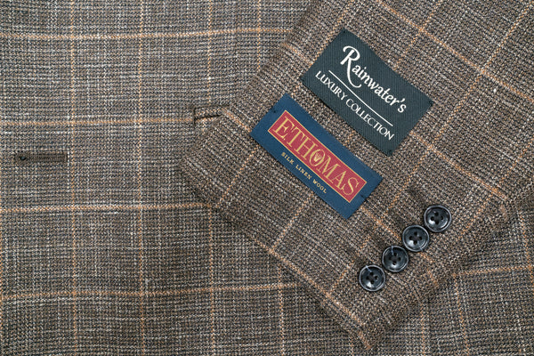 E. Thomas Brown Windowpane Wool Silk & Linen Sport Coat - Rainwater's Men's Clothing and Tuxedo Rental