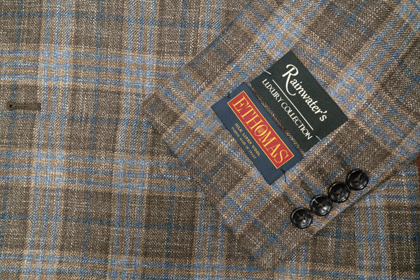 E. Thomas Brown Blue Plaid Wool Silk & Linen Sport Coat - Rainwater's Men's Clothing and Tuxedo Rental