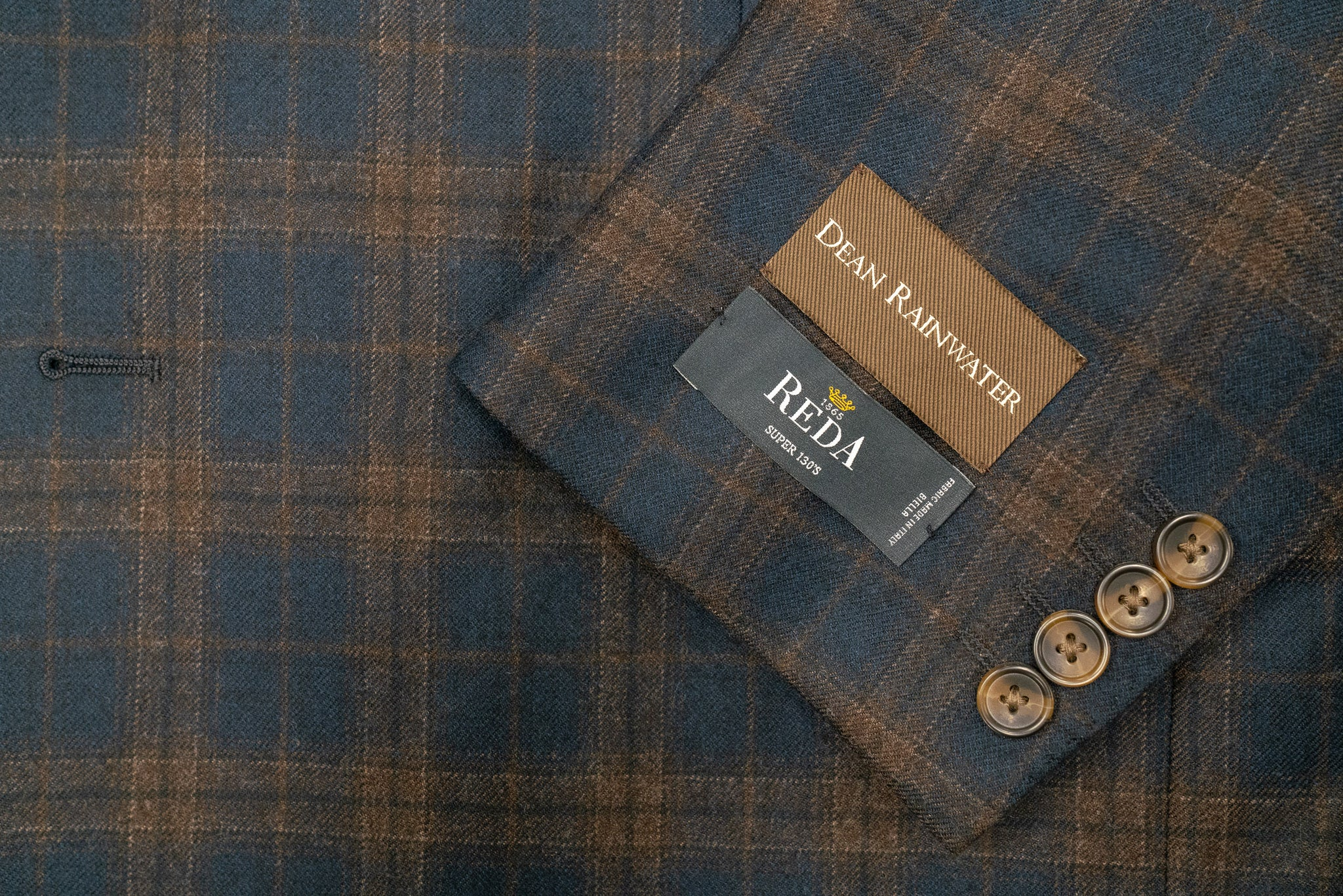 Reda's Navy Brown Plaid Super 130's Wool Soft Coat - Rainwater's